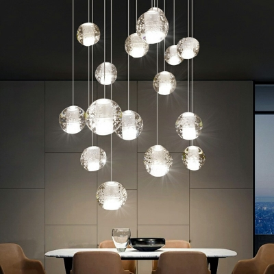 Globe Shaped Clear Crystal Suspension Lamp Simplicity LED 59 Inchs Height Multi Pendant Light Fixture