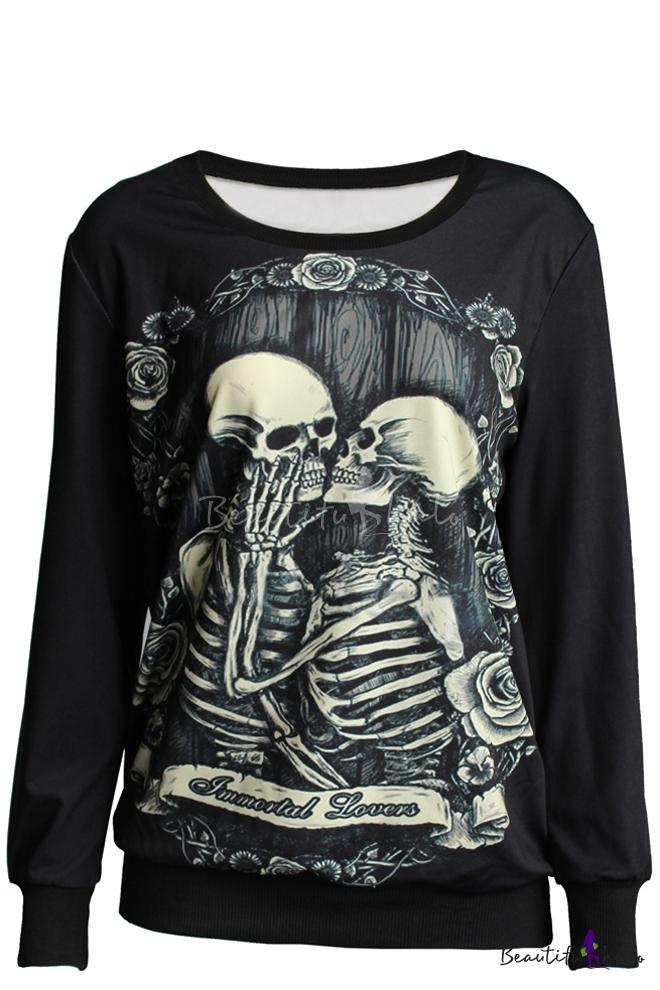 e332f87830df Double Skull Print Round Neck Long Sleeve Sweatshirt - Beautifulhalo.com