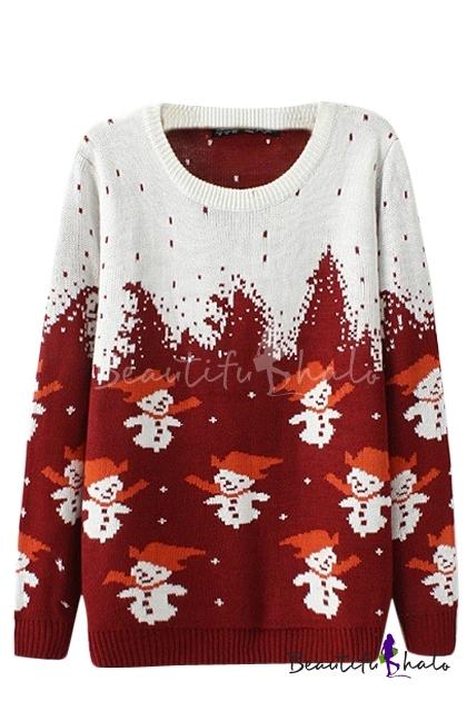 Buy Christmas Snowman Pattern Long Sleeve Sweater Round Neckline