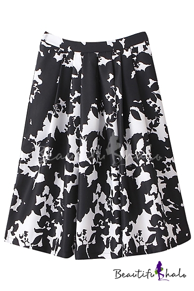 b3be296aed Black Fitted White Floral Print High Rise Midi Skirt - Beautifulhalo.com