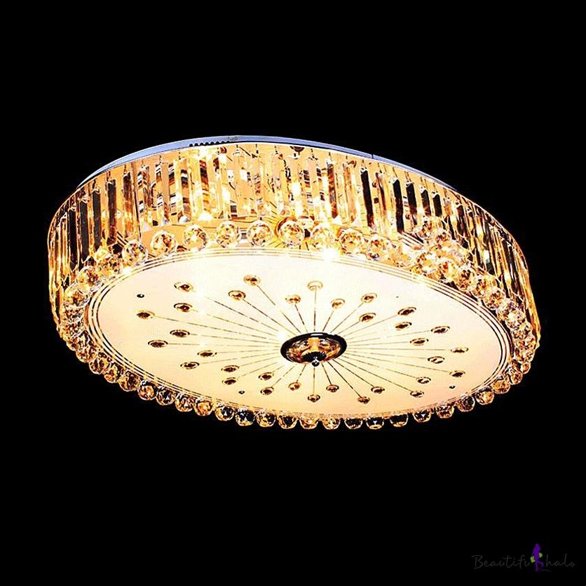 large 29 5 wide led crystal flush mount lighting for