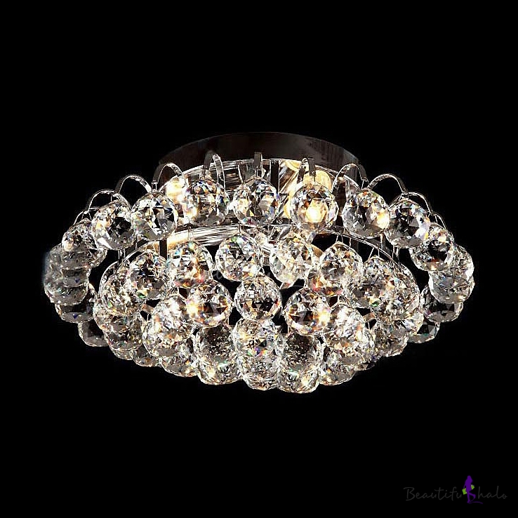 Brilliant Crystal Semi Flushmount Light Fixture With