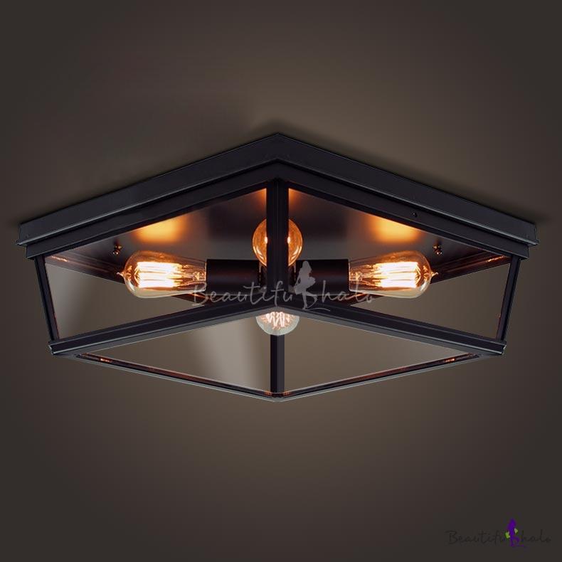 Four Light Black Led Flush Mount Ceiling With Gl Shade Beautifulhalo