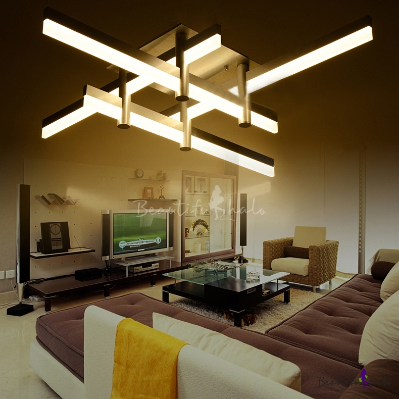 Large Contemporary Ceiling Lights : Large led bar close to ceiling light modern cool lighted