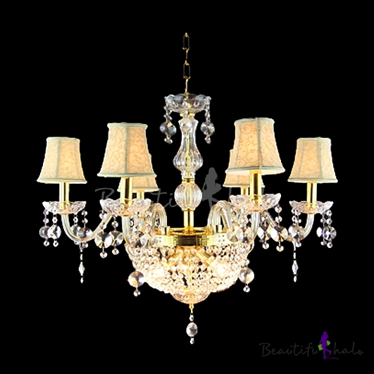 Buy Gorgeous Clear Crystal Beads Bobeches Golden Finish 9-Light Chandelier