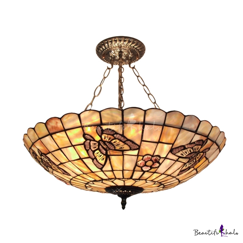 Fetching 20 Wide Five Lights Tiffany Shell Made Shaded Large Pendant