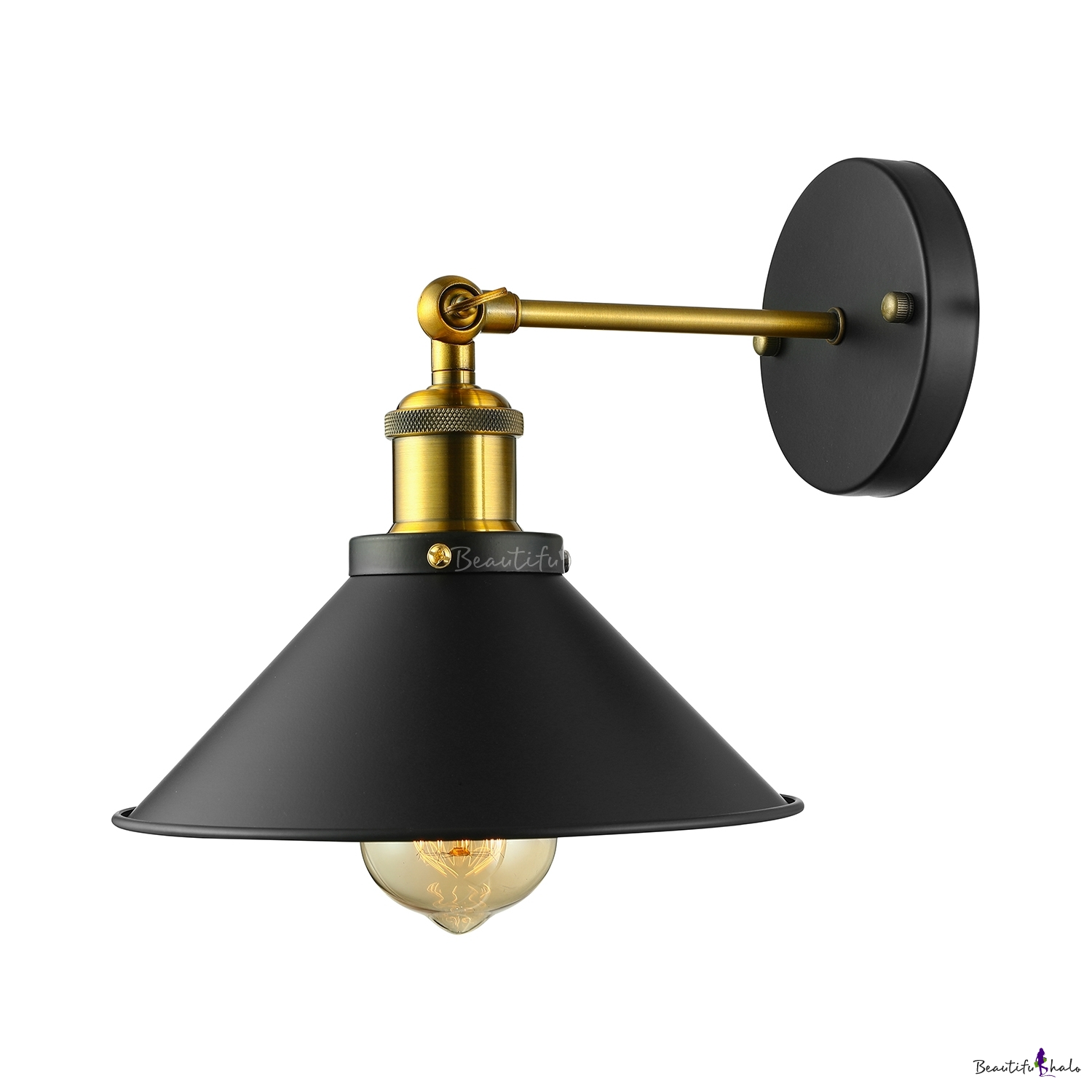 Black cone shade 1 light wall sconce beautifulhalo aloadofball Images