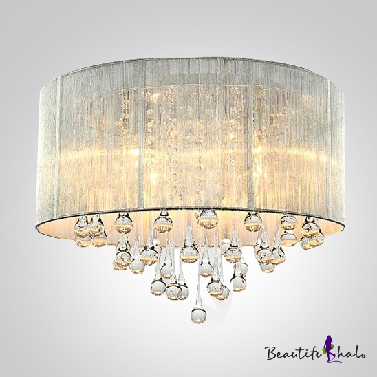 Silver Drum Shade And Rich Crystal Rainfall Flush Mount Chandelier Light    Beautifulhalo.com