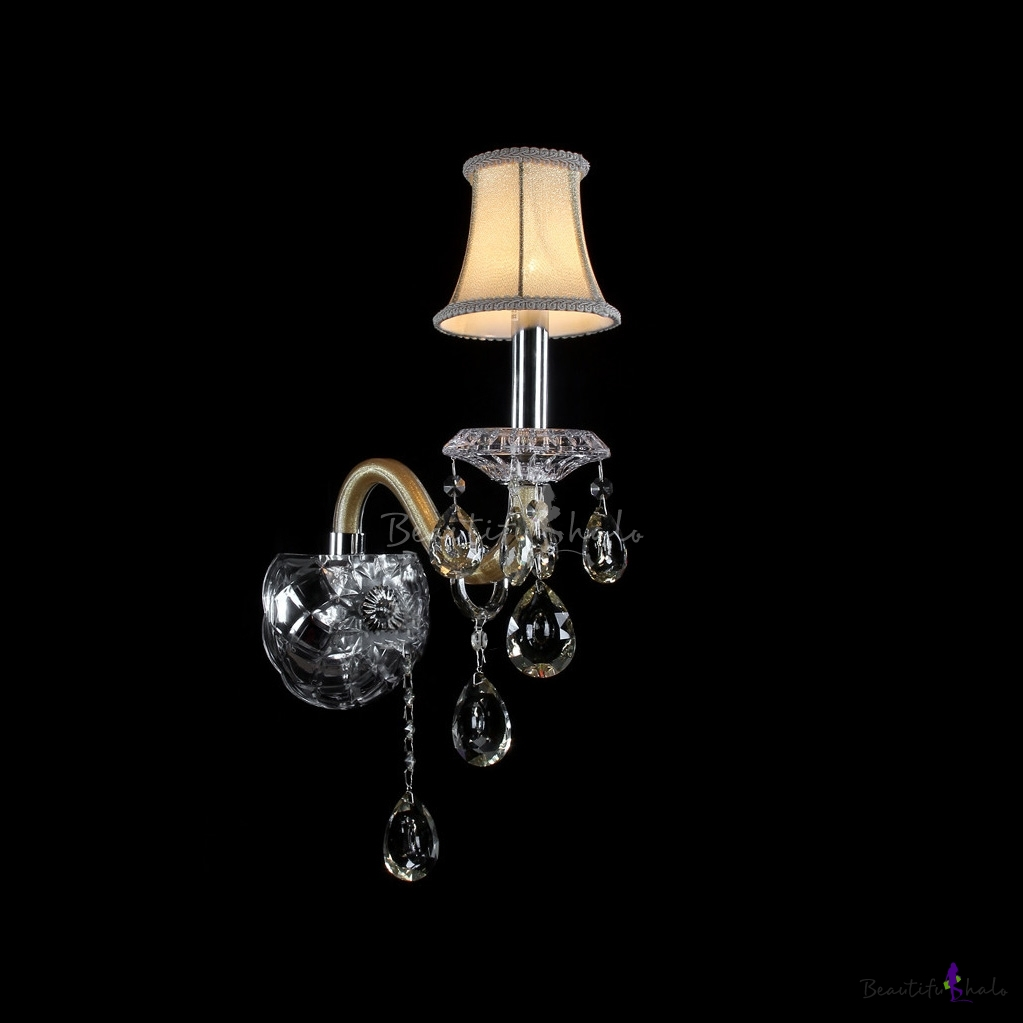 Crystal Wall Sconces With Shades : Splendid Single-light Wall Sconce with Crystal Base Perfect for Living Room with Beige Fabric ...