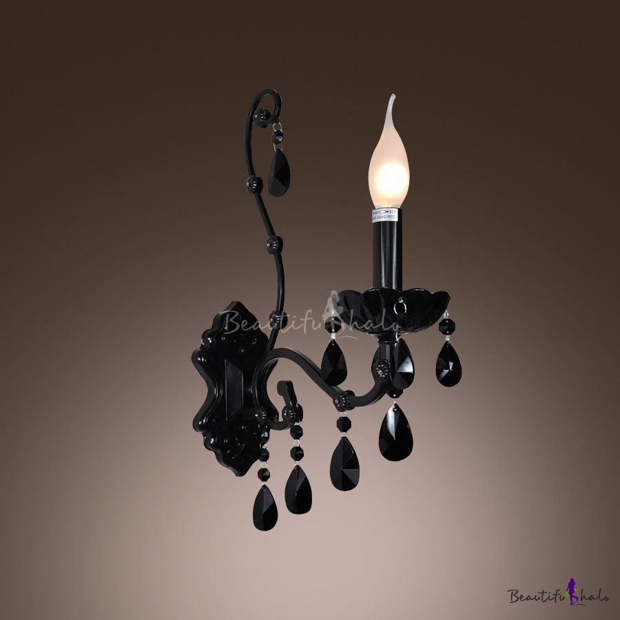 black crystal lighting. Modern Black Finish Wall Sconce With One Candle Light Adorned Beautiful Crystal Droplets - Beautifulhalo.com Lighting C