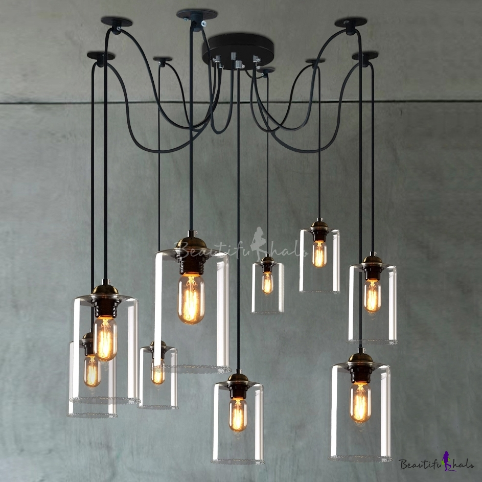 Retro Large Led Multi Light Pendant Light With Clear Cylindrical Shade Beautifulhalo Com