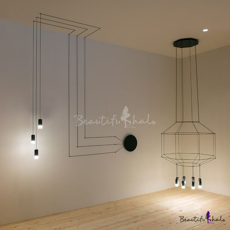 3 light wire designer long pendant lighting for Suspension contemporaine