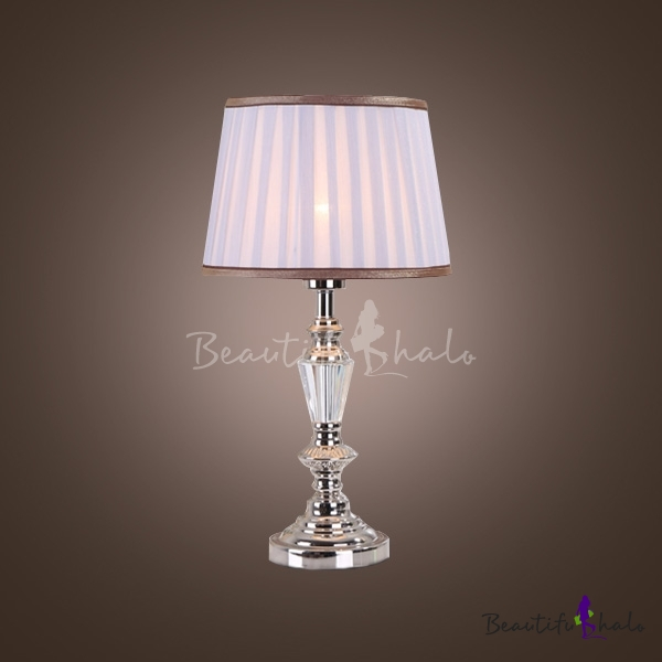 Modern and glamorous style mixed into crystal column table lamp modern and glamorous style mixed into crystal column table lamp topped with purple pleated fabric shade beautifulhalo aloadofball Images