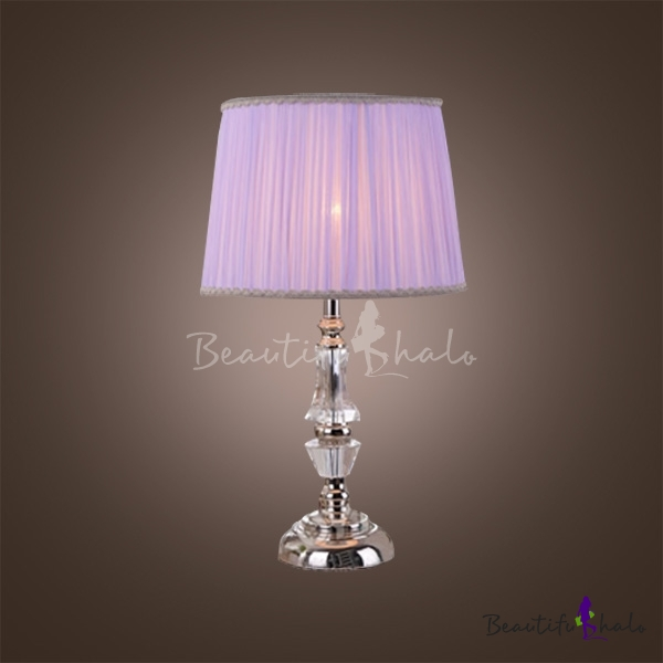 Eye Catching Crystal Table Lamp Featuring Faceted Crystal And Light Purple  Shade   Beautifulhalo.com
