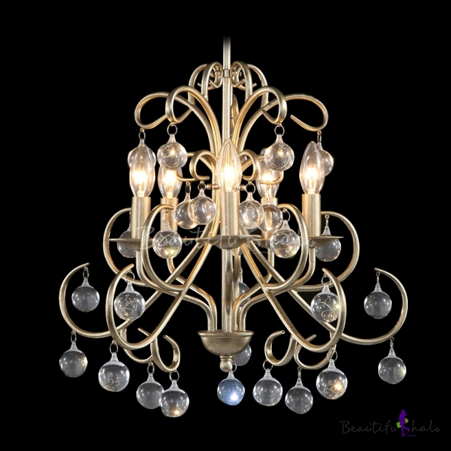Buy Hanging Lovely Small Crystal Globes Vintage Wrought Iron Chandelier Living Room
