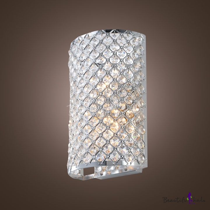 Contemporary Three Light Wall Light Fixture Adorned With