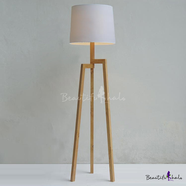 Wood Tripod And Fabric Drum Shaded Floor Lamp In Designer Style    Beautifulhalo.com