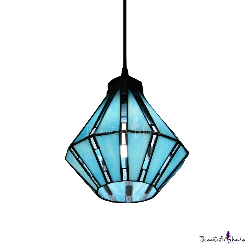 Buy Blue Tiffany Glass Shade Single Light 8 Inches Wide Mini Pendant
