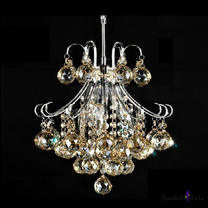 Sparkling Crystal Block Ring Chandelier: Lovely And Sparkling 4-Light Mini Contour Crystal And