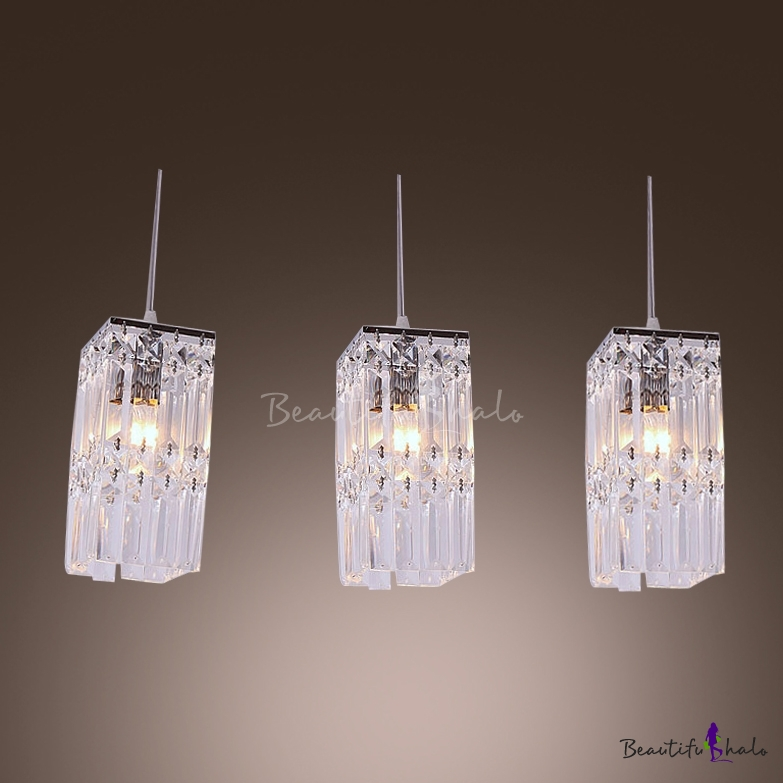 Stunning Rectangular Pendant Light Features Three Lights With Square Crystal Beautifulhalo