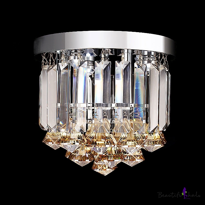 gorgeous amber crystal droplets small flush mount foyer