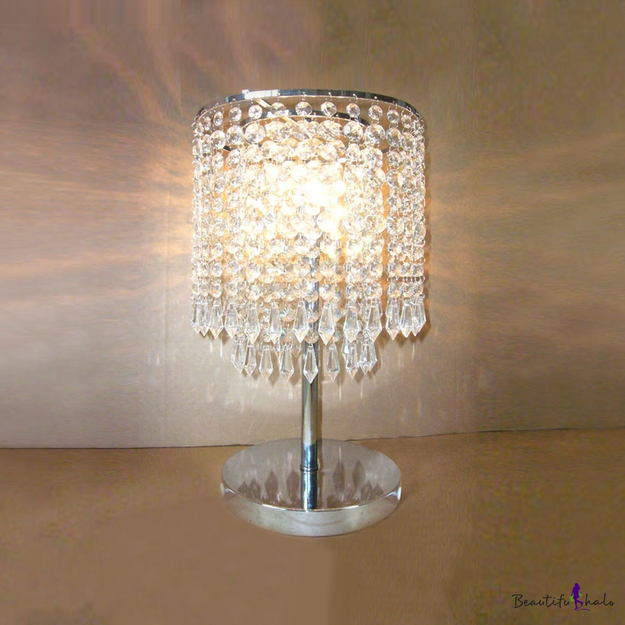 Dazzling Single Light Table Lamp With Delicate Electroplated Chrome Finish Base And Crystal