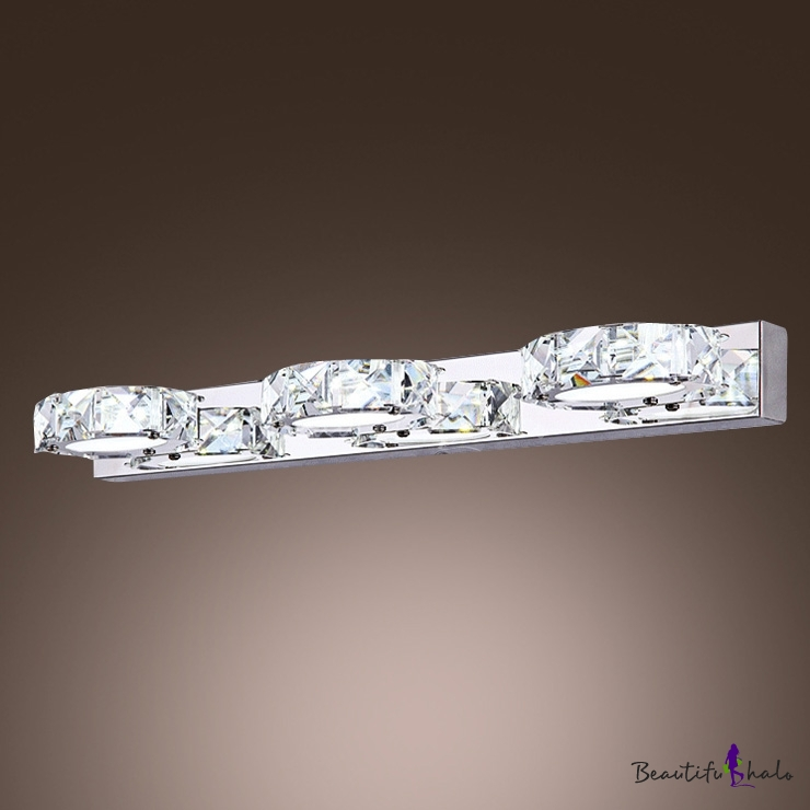With Pure Sparkle And Graceful Modern Form Elegant Bath Light Brightens Glittering Clear Crystal