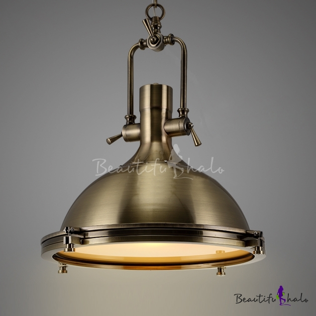 Nautical Pendant Light In Antique Bronze With Frosted