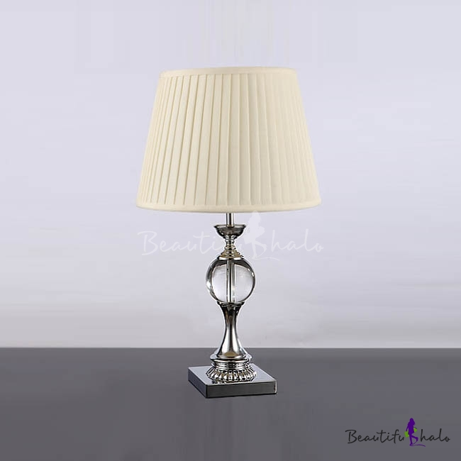 Modern Table Lamp Completed With Crystal Base And Beige