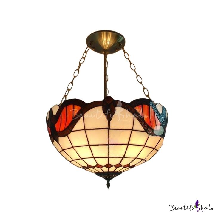 Mediterranean Two Lights 12 Wide Tiffany Glass Shaded Pendant Light B