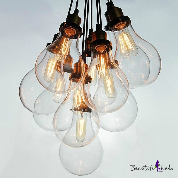 Buy Edison Bronze 10 Light Hanging Multi Pendant Clear Glass