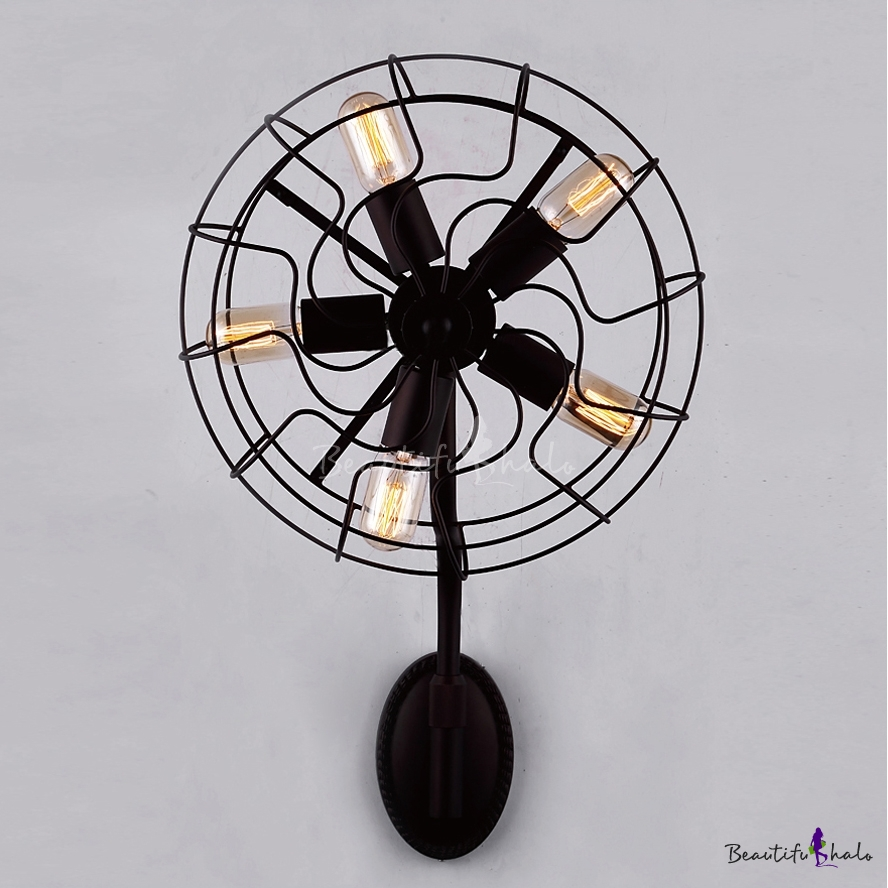 Buy LOFT Industrial Novelty Wrought Iron Fan Wall Sconce