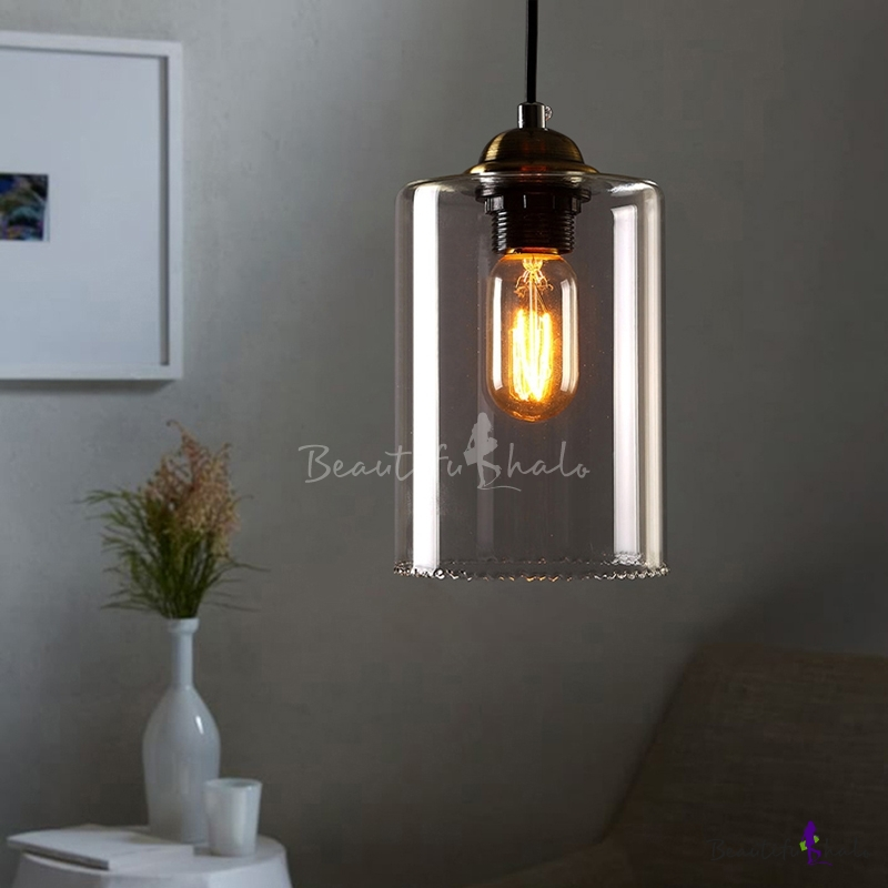 Buy 1-Light Mini-Pendant Light Cylindrical Shade Clear Glass