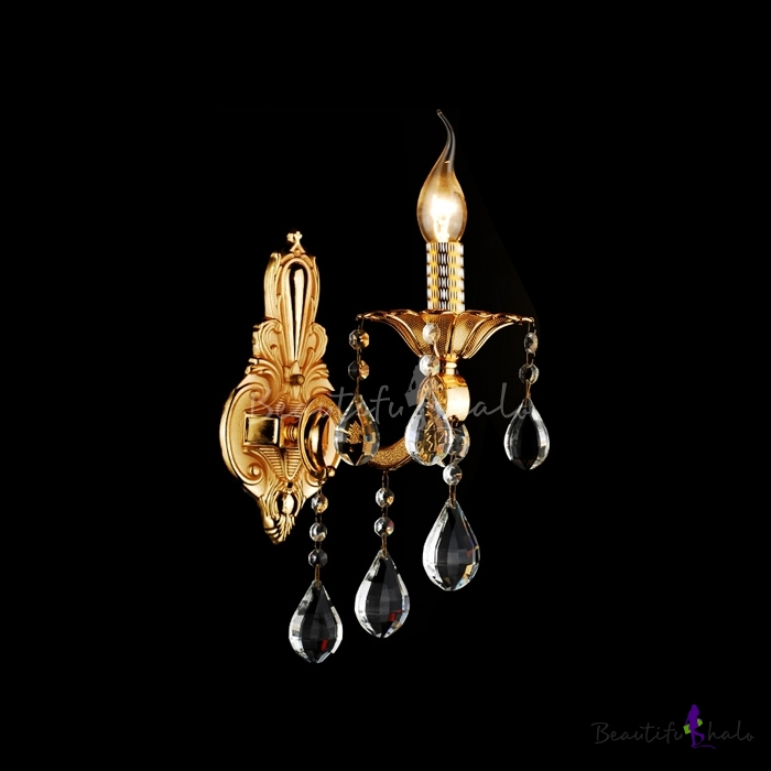 Luxury Shimmering Gold Single Light Wall Sconce Offers Exquisite Embelishment with Clear Crystal ...
