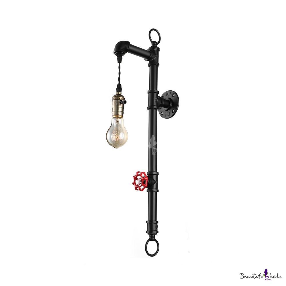 Industrial Pipe Wall Light: Rust Water Pipe 1 Light Wall Sconce Industrial Wrought
