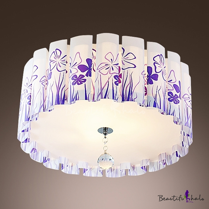 Stunning Flush Mount Ceiling Light Features Wavy Shade Printed Purple Grass Pattern And Clear Crystal Drop Beautifulhalo Com