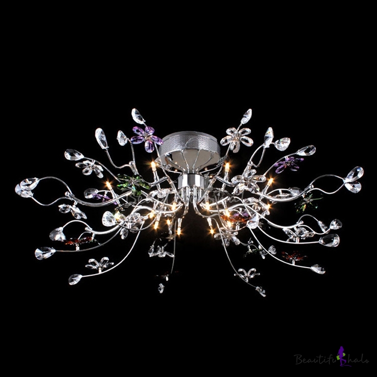 Finely Hand Cut Bright Crystal Flower And Leaf Flush Mount