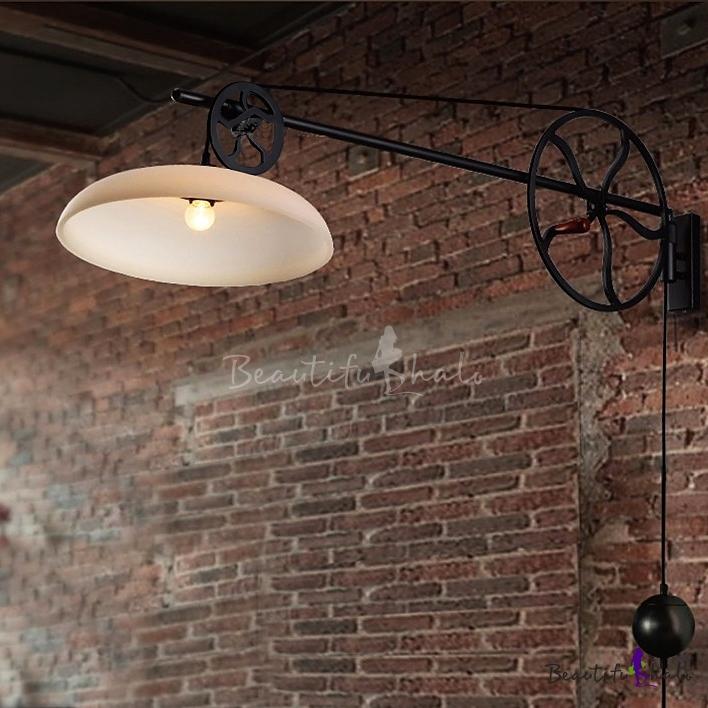 Barn Light Socket: Glass Shade 1 Light Keyed Socket Pulley LED Wall Light