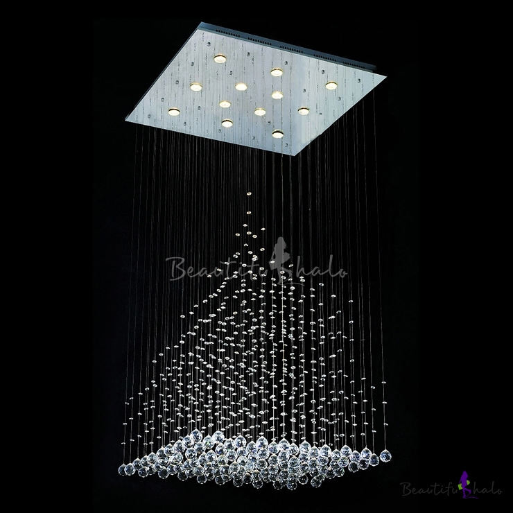 Hanging crystal balls and beads 9 light 393high275wide hanging crystal balls and beads 9 light 393high275wide stainless steel canopy chandelier beautifulhalo aloadofball Choice Image