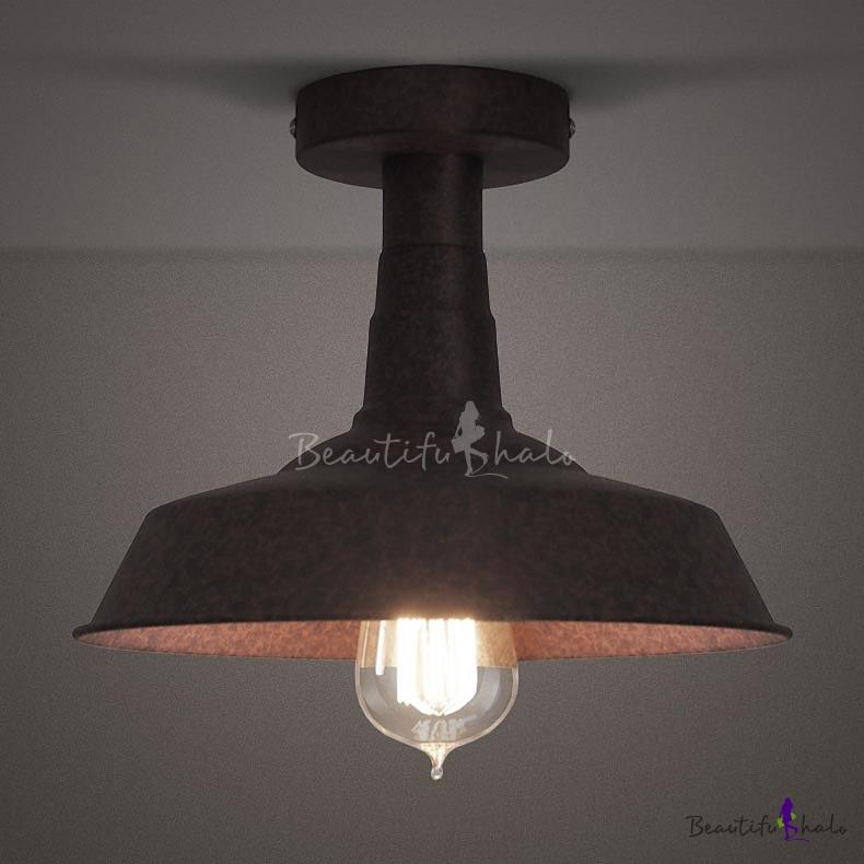 10 wide rust 1 light semi flush ceiling fixture beautifulhalo com