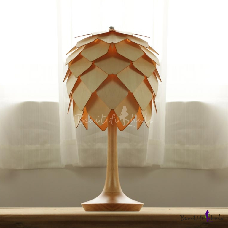 All wooden crafted pinecone table accent lamp for Crafting wooden lamps