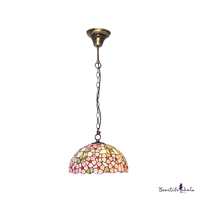Beautiful Pink Blossom Patterned Glass Shaded Tiffany Two Light Mini Pendant