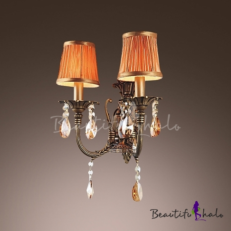 Buy Brautiful Wrought Iron Arms Orange Fabric Shades Creates Stunning Wall Sconce