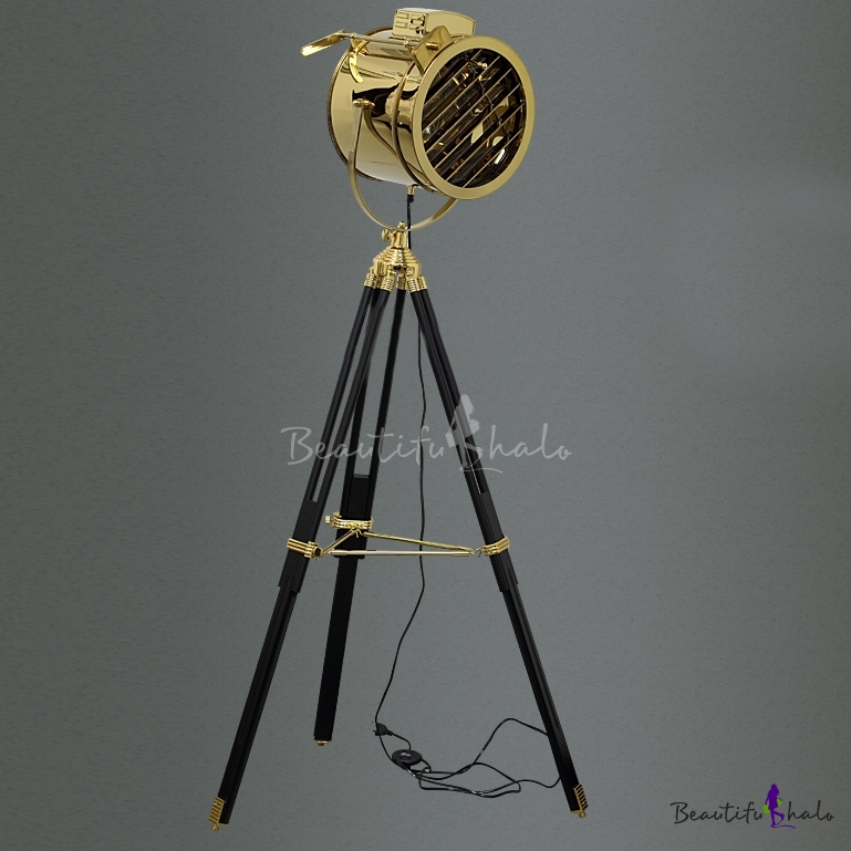 Spotlight floor lamp 1 light floor lamp gold lamps floor for Black tripod spotlight floor lamp gold inner