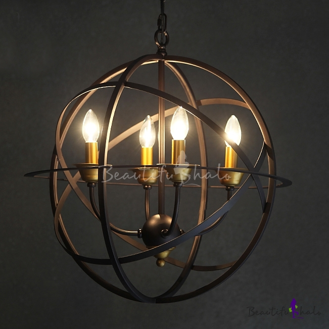 Buy Four-light Wrought Iron Cage Industrial Globe Pendant