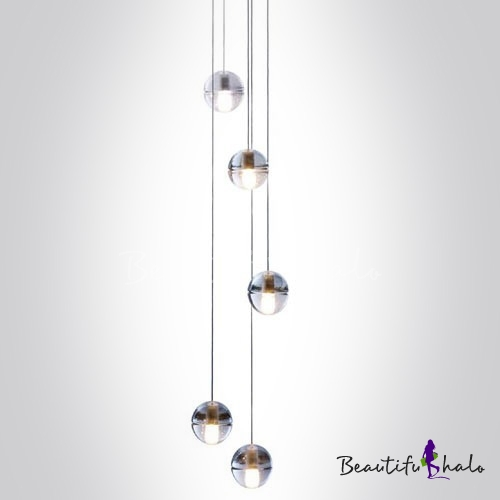 Super Cascade Glass Ball Pendant Light 5-Light - Beautifulhalo.com WO54