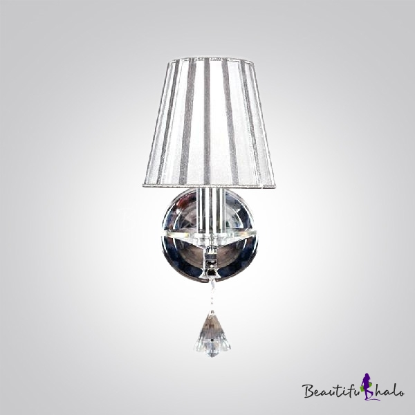 Replacement Light Shades For Wall Lights : Contemporary One Light Wall Sconce with Gray Fabric Shade and Beautiful Crystal Teardrop ...