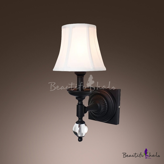 Buy Striking Wall Sconce Beige Fabric Shade Features Beautiful Wrought Iron Crystal