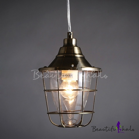 Antique Bronze Single Light Warehouse Outdoor Pendant Lighting ...