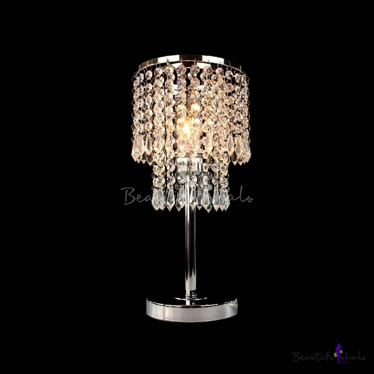 Crystal Chandelier Table Lamps: Brilliant Crystal-shaded Lamp Adorned With Clear Crystal